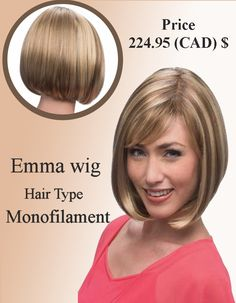 Emma Hair Wig Hair type :Monofilament Wigs Length :Medium Price : 224.95 (CAD)$ http://www.hairandbeautycanada.ca/emma-mono-wig/ #emmahairwig   #monofilamentwigs   #hair   #hairwigs   #shortwigs
