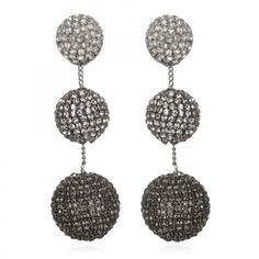 Rhinestone Gumball Drop Earrings - Gunmetal Ombré