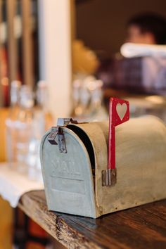 Old mailbox for wedding cards -- see the wedding on #smp here: http://www.StyleMePretty.com/australia-weddings/2014/05/12/sorrento-wedding-at-the-baths/  Photography: Anitra Wells - anitrawells.com/weddings.html