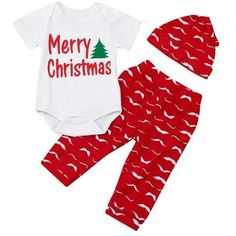 Baby Outfits vmree 3 pcs Newborn Infant Baby Boy Girl Letter Romper TopsPants Hat Christmas Outfits Set Red -- Visit the image link more details. (This is an affiliate link) Boys Christmas Outfits, Christmas Onesie, Christmas Baby, Christmas Print, Merry Christmas, Baby Outfits Newborn, Toddler Outfits, Baby Boy Outfits, Kids Outfits