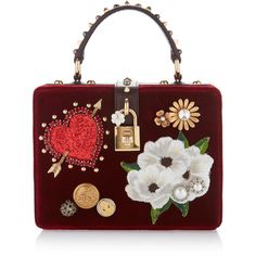 Dolce & Gabbana Embellished Velvet Top Handle Bag ($2,995) ❤ liked on Polyvore featuring bags, handbags, red, flower purse, studded handbags, square purse, red handbags and party purses