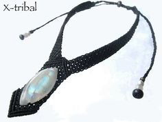 Moonstone Macrame Necklace with Beads from by ZaharaHipRoses, €130.00