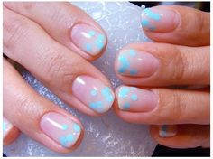 Clear nails with blue dots