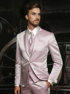 Latest Coat Pant Designs Pink Satin Pattern Italian Formal Custom Wedding Suits For Men 3 Pieces Groom Slim Fit Masculino H7