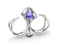 Alexander Davis Diadem double finger ring in platinum, set with an inverted 10ct tanzanite and diamonds.