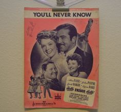 Vintage 1943 You'll Never KNow Music and by FloridaFindersPaper, $5.00