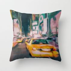 Taxi New York Throw Pillow by Jean-François Dupuis - $20.00