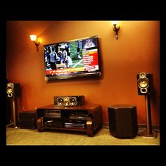 The new set up in our Brown Room with Paradigm Speakers and the Sharp Elite PRO-60X5FD!
