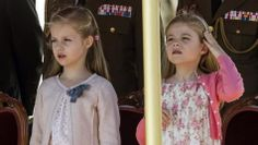 Princesses Leonore and Sofia of Spain attend a military event with their parents 5/2/2014