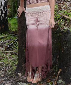 Look at this Jayli Mocha & Natural Ombré Fringe Convertible Skirt - Women on #zulily today!