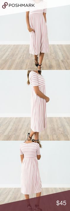 🎉ONLY 1️⃣ LEFT🎉 Mauve & Ivory Stripe Dress Colors: Ivory & Mauve *Does have pockets! Model is 5'5 wearing size small Size Guide: S- Length 42 in. M- Length 42.5 in. L- Length 43 in. 95% Rayon, 5% Spandex handwash cold / hang dry Dresses Midi
