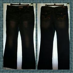 Jeans These are great,  comfortable,  hipster flare jeans.  These were my favorites.  Just getting too big with weight loss.  They are in great condition.  No rips,  tares,  stains.  Zipper functions properly. Buttons attached.  Bottom Hems are clean; not worn or torn. lei Jeans Flare & Wide Leg