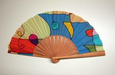 Handpainted Silk hand fan-Wedding hand fan-Giveaways-Bridesmaids-Spanish hand fan by gilbea on Etsy