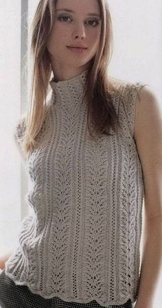 Share Knit and Crochet: Turtleneck Sleeveless Knit Top Summer Knitting, Lace Knitting, Knitting Stitches, Knitting Patterns Free, Knit Patterns, Free Pattern, Crochet Woman, Knit Crochet, Crochet Pattern