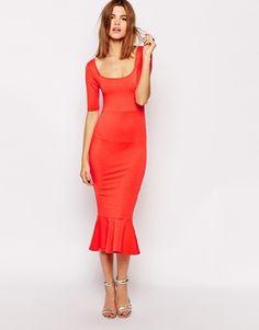ASOS Pep Hem Midi Dress with Half Sleeve