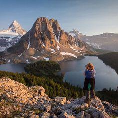 """Watching the light of day fade as the sun sets over Mount Assiniboine Provincial Park, bathing the iconic Mount Assiniboine in a magical light.""  Photo taken by @paulzizkaphoto via Instagram.  #exploreBC #exploreCanada"