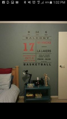 Had this vinyl decal custom made for my son's wall.  It has reference to all four of my kids birth dates. Love it!