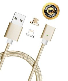 USB Charging Cable Magnetic New 3rd Gen Magnetic Cable by Spherecalls 2 in 1 Micro and Mini 8 Pin 1 Charge Cable to Suit iPhone and Android Does Not Support Galaxy S7 or S7 Edge Gold *** You can get additional details at the image link. (This is an affiliate link) #CellPhoneAccessories