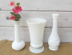 Milkglass White Hobnail Flower Vases bud vase set of 3 collection wedding decor baby nursery baby bridal shower rustic wedding (31.99 USD) by OnceUponaTimeFinds