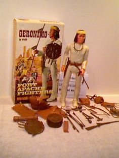"Geronimo was an official addition to the FAF collection. Geronimo was 12"" tall, had a white to off white poly-plastic body and had the same poly-plastic and vinyl accessories as Chief Cherokee with one exception. Geronimo was the only Indian that had a Yellow headband added. Geronimo can be identified as an Indian with straight long hair with no braids."