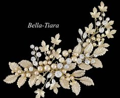 NEW to our handmade exclusive collection -- beautiful light gold champagne comb, on a light gold setting with vines, Ivory pearls and spray crystals on flexible metal wire to adjust to your needs  gorgeous look approx 2.75 wide and 6 long on alligator clip    we could also make with silver setting