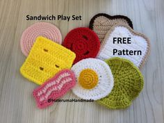 Crochet Sandwich Play Set: free pattern I absolutely love textile toys for my own boys. Sewing Patterns For Kids, Crochet Toys Patterns, Crochet Dolls, Knitting Patterns, Food Patterns, Knitting Ideas, Crochet Food, Crochet Gifts, Crochet Yarn