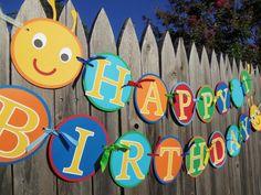MADE TO ORDER Caterpillar Happy Birthday Banner  by CutieBugShop, $32.00