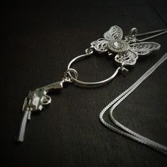 Butterfly with a Gun Sterling Silver Bullet Necklace