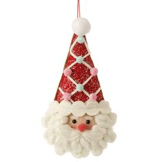 RAZ Candy Sprinkles 8 inch Plush Santa Head Ornament  shelleybhomeandholiday.com