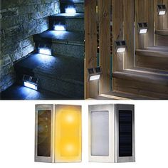 DBPOWER 1-Pair(2pcs) LED Solar Powered Stainless Steel Staircase LED Solar Step Lights, Solar Dock Light - Warm White DBPOWER http://www.amazon.com/dp/B00M0G7YHO/ref=cm_sw_r_pi_dp_7ihzwb0BXQRW0