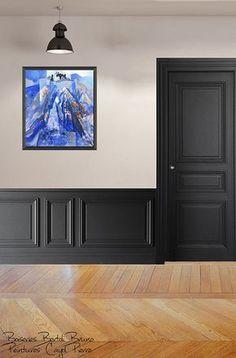 Hallway Ideas Long - New ideas Flur Design, Wall Design, House Design, British Architecture, Hallway Inspiration, Black Interior Doors, Wall Trim, Wall Molding, Hallway Decorating