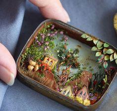 21 Best Ideas for origami box ideas fun Miniature Rooms, Miniature Crafts, Miniature Houses, Matchbox Crafts, Matchbox Art, Altered Tins, Altered Art, Shadow Box Art, Origami Box