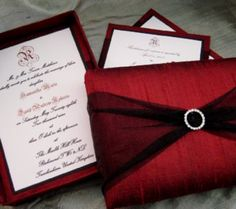 vintage hollywood • wedding invitation • metallic red envelope, Wedding invitations