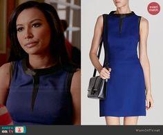 Santana's blue dress with black trim on Glee. Outfit Details: http://wornontv.net/45398/ #Glee