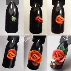 toe nail shapes French Tips 3d Acrylic Nails, Nail Art Diy, 3d Nails, Pastel Nails, Bling Nails, 3d Nail Designs, Flower Nail Designs, 3d Flower Nails, Rose Nails