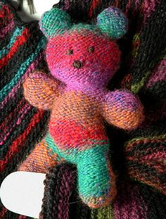 Colorful Teddy Bear Free Knitting Pattern | Free Teddy Bear Knitting Patterns at http://intheloopknitting.com/free-teddy-bear-knitting-patterns/