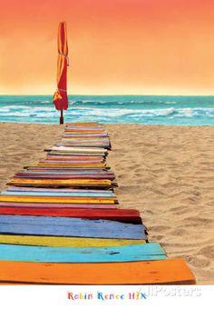 Beachy hues of blue and orange create the Amanti Art Framed Print - Orange Beachwalk by Robin Renee Hix 's playful seaside scene. Orange Beach, Orange Art, Blue Beach, Jolie Photo, Beach Walk, Beach Scenes, Framed Art Prints, Framed Artwork, Wood Artwork