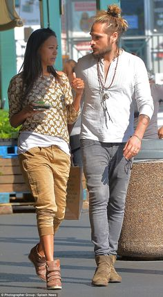 Me and you: Zoe Saldana and her husband Marco Perego did some shopping at Whole Foods market on Thursday, with the actress looking low-key in her brown and white casuals