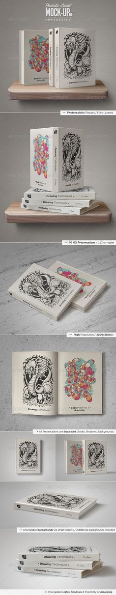 Book Mock-Up Set - 2 - Books Print #design #mockup #logo #books #premium #inspiration