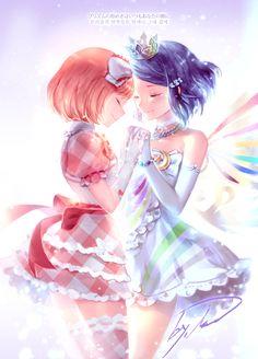 Naru and Rinne - Pretty Rhythm: Rainbow Live Manga Drawing, Manga Art, Anime Manga, Me Me Me Anime, Anime Love, Rainbow Live, Anime Stars, Pretty Star, Fairytale Art