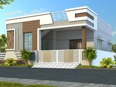 Aashray | Skandhanshi Independent House, Single Floor House Design, Small House Design, Front Elevation Designs, House Elevation, Building Elevation, Front Wall Design, 2bhk House Plan, Bungalow Haus Design
