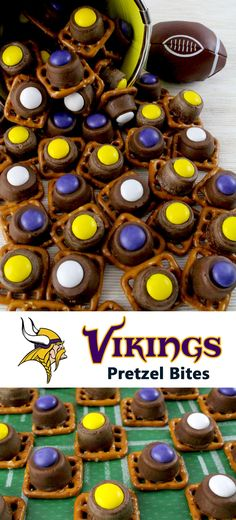 Our easy to make Minnesota Vikings Pretzel Bites are yummy bites of sweet and salty Football Game Day goodness. They are perfect as a little extra treat at a NFL playoff party, a Super Bowl party or as a special dessert for the Minnesota Vikings fan in your life. Follow us for more fun Super Bowl Food Ideas.