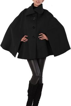 Amazon.com: Jessie G. Women's Asymmetrical Collar Wool Blend Cape in Black or Red: Clothing