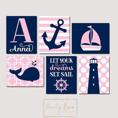 Girl Nautical Wall Art, CANVAS or Prints, Ocean Baby Nursery Artwork, Coastal Pink Bedroom Pictures, Whale Anchor Sailboat Set of 6 Set Sail Nautical Baby Nursery, Nautical Wall Art, Baby Nursery Themes, Girl Nursery, Babies Nursery, Baby Decor, Nautical Theme, Nursery Ideas, Navy Nursery