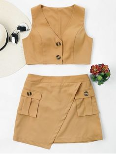 Summer Solid Flat Zipper Mid Sleeveless V Regular Casual Daily Buttoned Sleeveless Skirt Set Kpop Fashion Outfits, Girls Fashion Clothes, Girl Fashion, Clothes For Women, Skirt Outfits, Chic Outfits, Retro Outfits, Black Girl Braided Hairstyles, Baby Girl Skirts