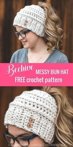 This Messy Bun Hat Pattern is Yours, Free! – Crochet and Knitting Patterns This Messy Bun Hat Pattern is Yours, Free! – Crochet and Knitting Patterns,Knitting This Messy Bun Hat Pattern is Yours, Free! Chelsea, Crochet Accessories, Bow Accessories, Crochet Clothes, Crochet Stitches, Crochet Messy Bun Hats, Ponytail Crochet Hat Pattern, Messy Bun Beanies, Pony Tail Crochet Hat