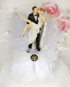 This hip and cool cake top showcases the Army, Navy, Air Force, or Marine military seals on an organza bow and tulle. Amusement is well in tow with this funny and excited bride as the happy couple embarks on their new life together. It will be sure to cause quite a stir at your wedding reception or bridal shower. Skirt is made of organza.