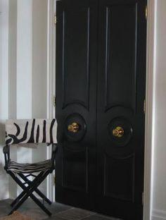 60 ideas black and white closet doors for 2019 Black French Doors, French Doors Patio, Black Doors, French Patio, Patio Doors, Door Entryway, Entrance Foyer, Antique Brass Door Knobs, Brass Hardware