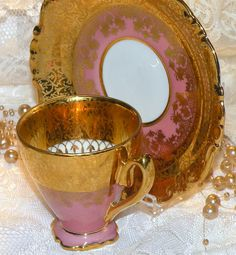 Vintage Espresso Cup Saucer Set Demitasse by RosePetalResources, $90.00