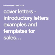 cover letters - introductory letters examples and templates for sales…